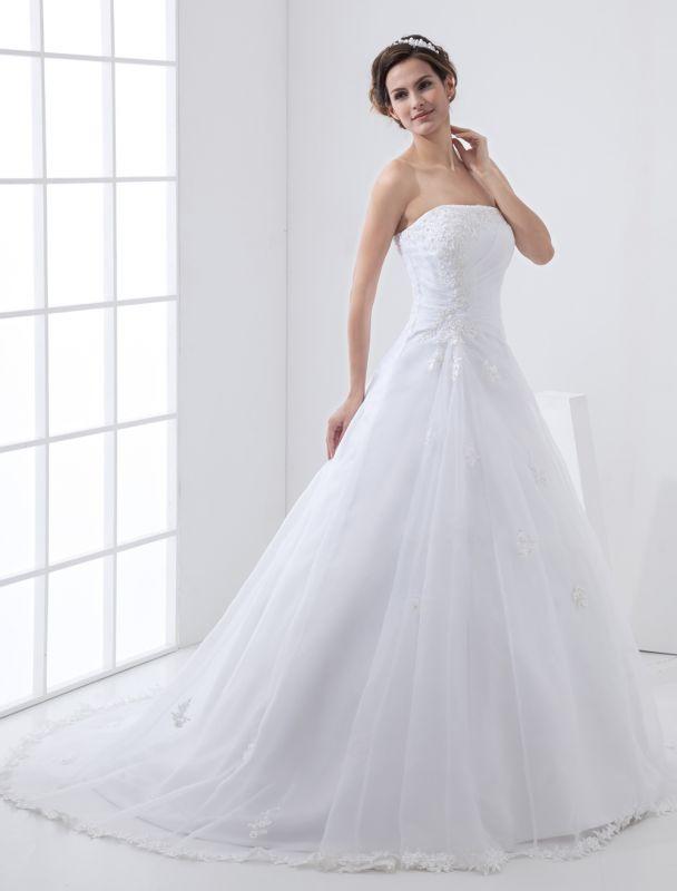 Robes de mariée blanches sans bretelles robe de mariée dentelle perles côté robe de mariée drapée avec train