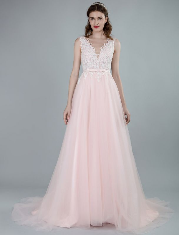Wedding Dresses A Line Sleeveless Bows V Neck Bridal Dresses With Court Train Exclusive