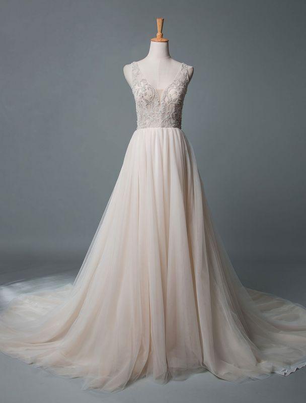 Einfaches Hochzeitskleid A-Linie V-Ausschnitt ärmellose Applikationen Perlen bodenlangen Brautkleider
