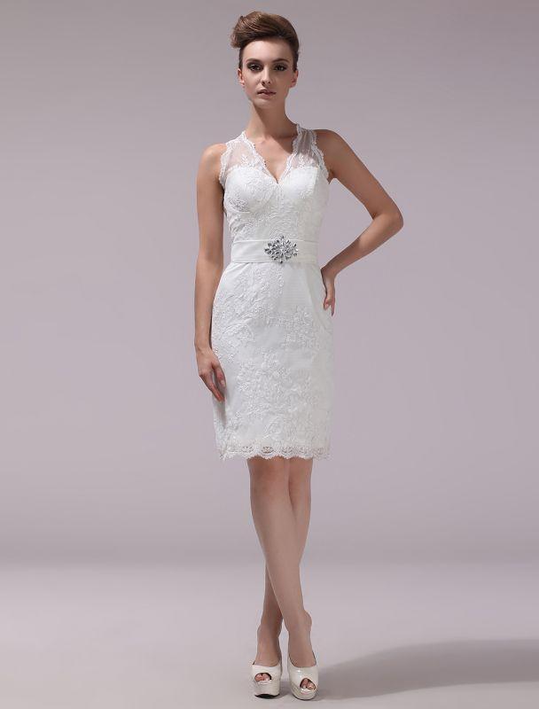 Weißes Etuikleid mit Strass-Knielangem Spitzen-Hochzeitsempfang mit V-Ausschnitt Exklusiv