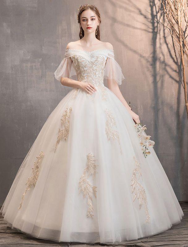 Prinzessin Brautkleid Elfenbein schulterfreies bodenlanges Brautkleid