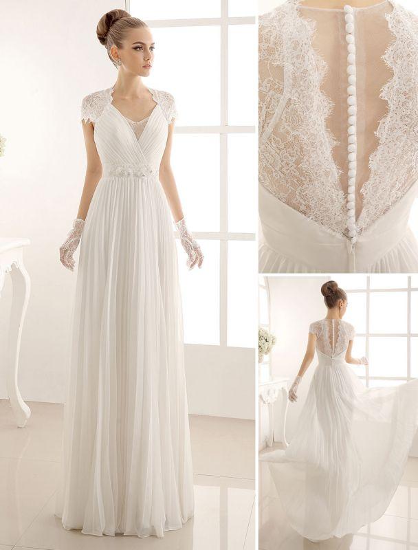Vestido de novia con escote en pico y encaje hasta el suelo exclusivo