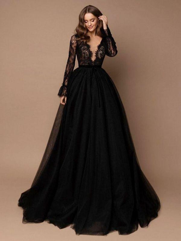 Robe de mariée noire avec train A-ligne col en V manches longues dentelle balayage tulle dentelle robes de mariée
