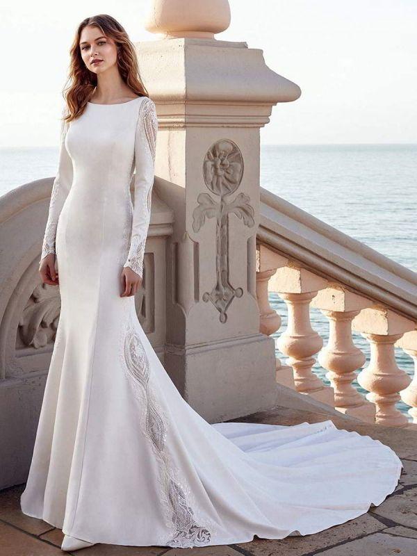 Brautkleid Meerjungfrau Kleid Bateau-Ausschnitt mit langen Ärmeln natürliche Taille mit Zug Brautkleider