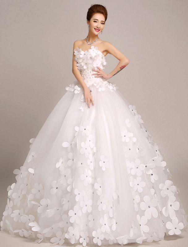 Elfenbein Brautkleider Prinzessin Ballkleider Brautkleid 3D Blumen Trägerlos Perlen Frauen Festzug Kleider