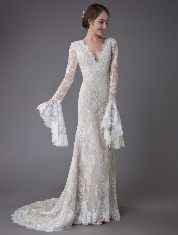 Champagne Brautkleider Spitze V-Ausschnitt Langarm Mantel Boho Brautkleid mit Zug Exklusiv