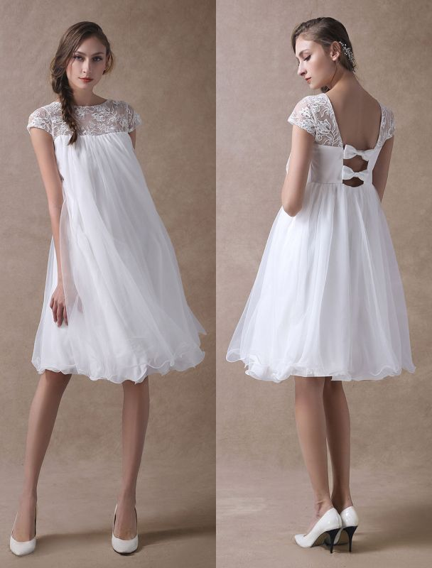 Simple Wedding Dresses Short Empire Waist Lace Tulle Cap Sleeve Pregnant Bridal Dress Exclusive
