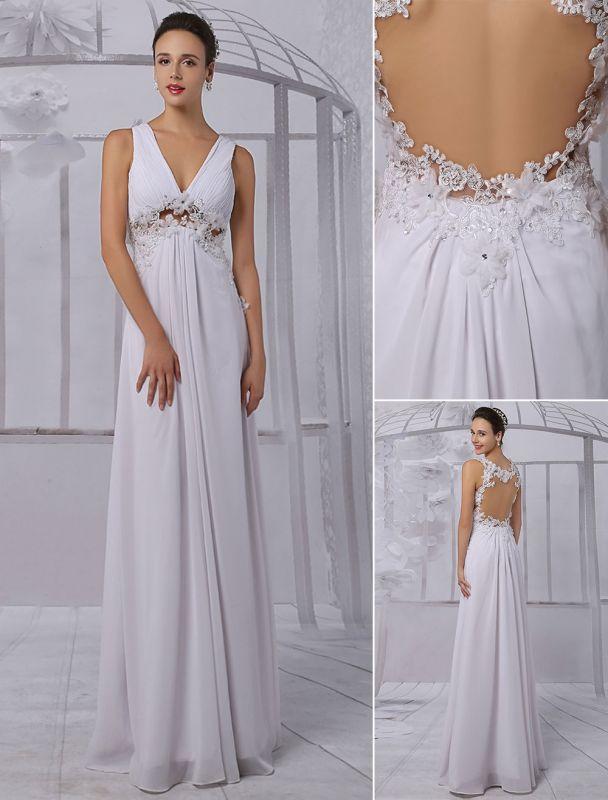 Empire Chiffon V-Ausschnitt Brautkleid mit Illusion Rücken und Blumenapplikation Exklusiv