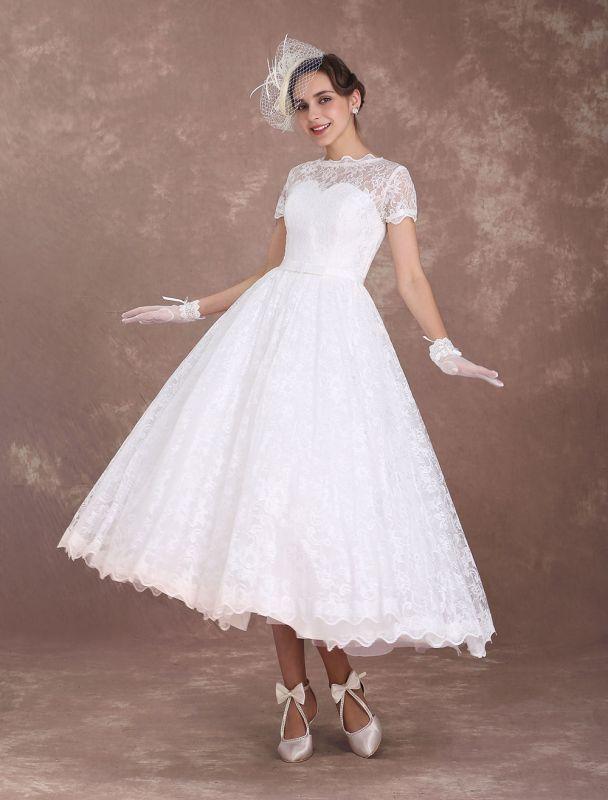 Lace Wedding Dresses Short Sleeve 1950'S Vintage Bridal Dress Sweetheart Illusion Ivory A Line Tea Length Wedding Reception Dress Exclusive