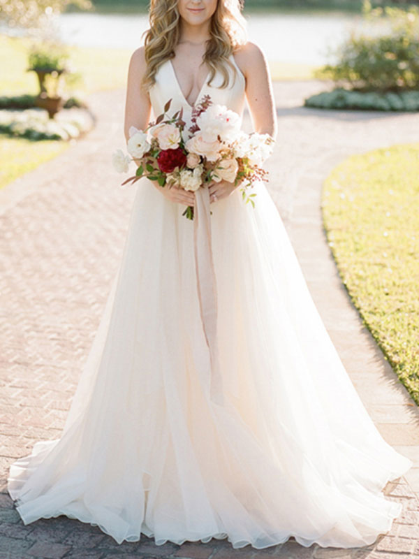 A Line Wedding Dress Ivory Blackless V Neck Spaghetti Straps Wedding Dress