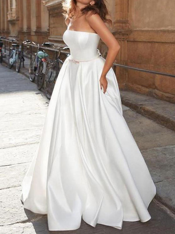 Vintage Brautkleid trägerlos ärmellos natürliche Taille Satin Stoff bodenlangen Bögen traditionelle Kleider für die Braut
