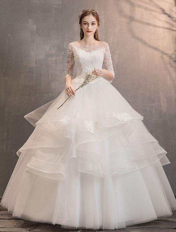 Elfenbein Brautkleider Tüll Illusion Ausschnitt Halbarm Bodenlangen Prinzessin Brautkleid