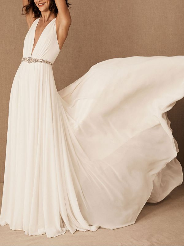 Wedding Dress Deep V-Neck Beaded Sash Chiffon Bridal Dress