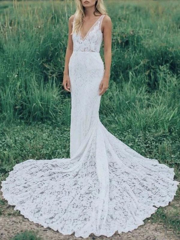 Boho Wedding Dresses Mermaid V Neck Sleeveless Lace Beach Bridal Dress With Train