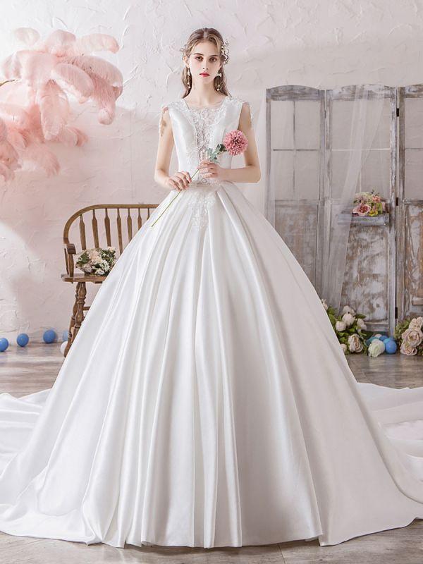 Hochzeitskleid-Prinzessin-Silhouette-Illusion-Ausschnitt-Ärmellos-Natürliche-Taille-Kathedrale-Zug-Brautkleider