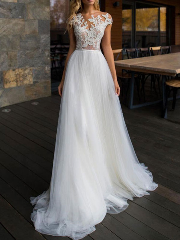 Wedding Dresses 2021 Illusion Neck Short Sleeve Floor Length Lace Soft Tulle Beach Bridal Gowns For Boho Wedding