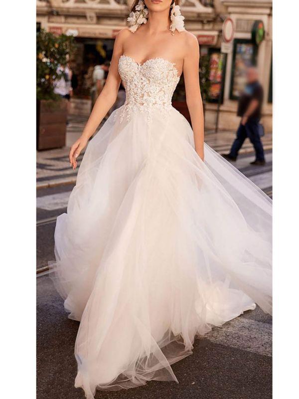 Einfache Brautkleider Tüll Herzausschnitt Ärmellos A-Linie Spitze Flora Brautkleider mit Zug