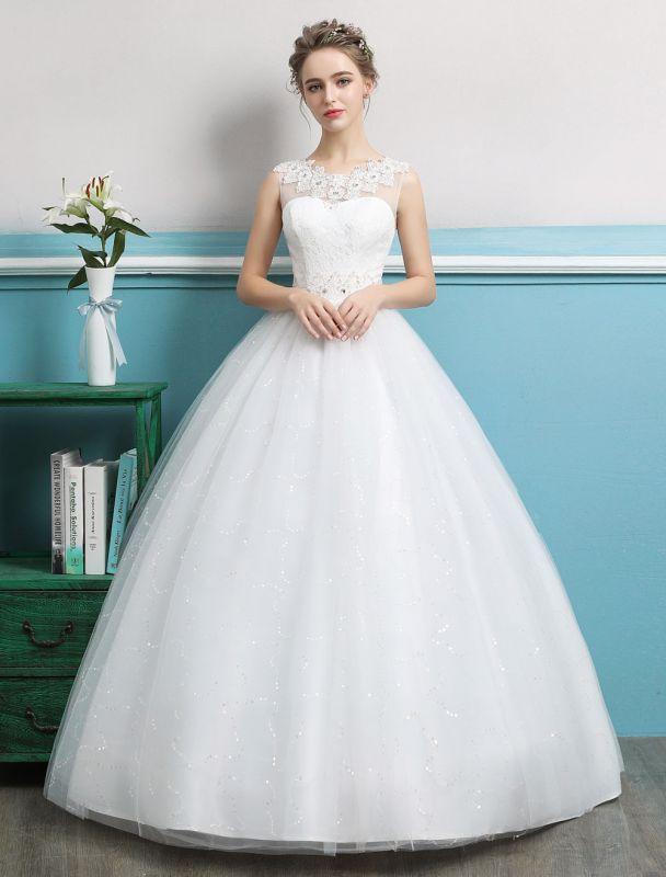 Princess Ball Gown Wedding Dresses Tulle Backless Ivory Beading Floor Length Bridal Dress