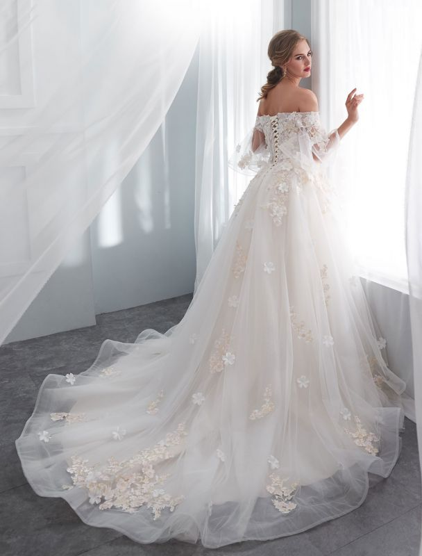 Princess Wedding Dresses Half Sleeve Off Shoulder Lace Flowers Pearls Applique Ivory Bridal Dress With Train