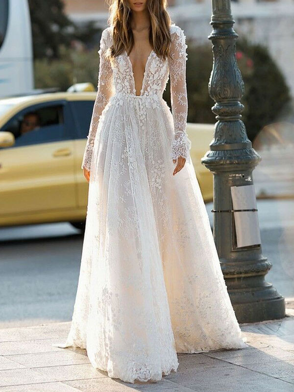 Simple Wedding Dress A Line V Neck Long Sleeves Lace Floor Length Bridal Gowns