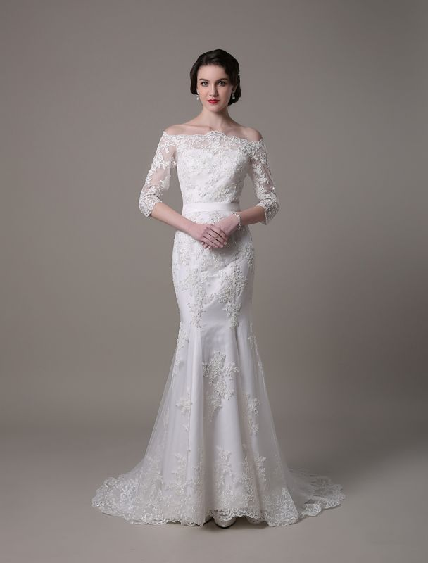 Wedding Dresses Vintage Lace Mermaid Of The Shoulder Court Train Bridal Dress Exclusive