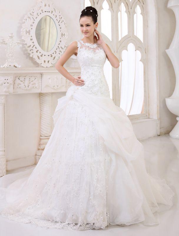 Elfenbeinfarbenes Duchesse-Linienkleid mit Juwelen-Ausschnitt und Pailletten Kapelle-Schleppe-Brautkleid exklusiv für die Braut