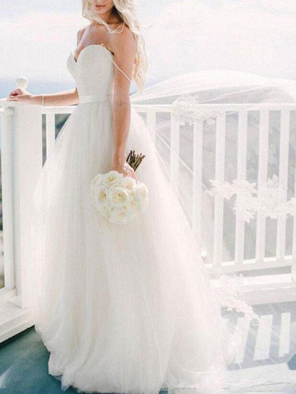 Brautkleid 2021 Ballkleid Herzausschnitt Ärmellos Natürliche Taille Schärpe Tüll Brautkleider Mit Zug