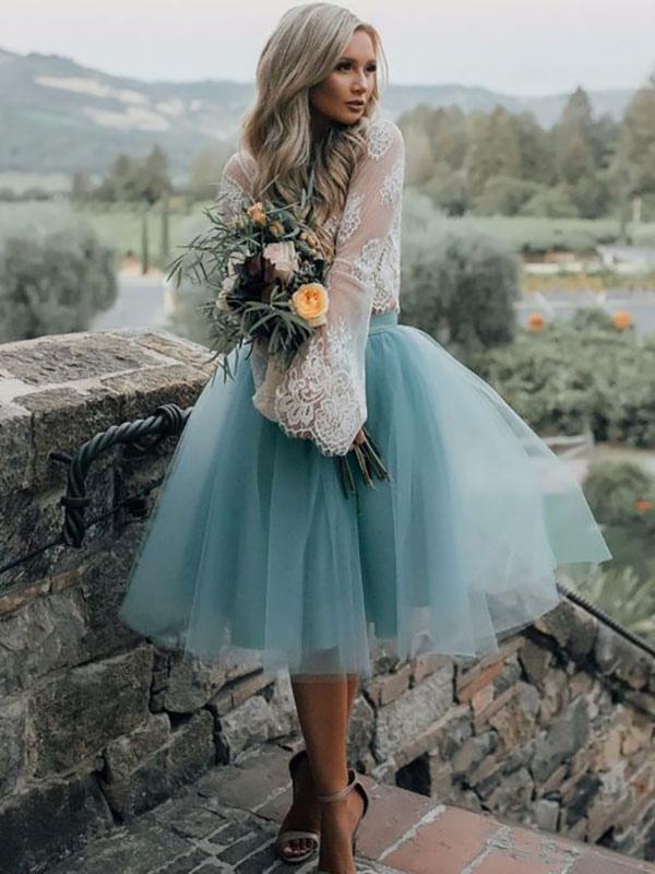 Blaues einfaches Hochzeitskleid A-Linien-Ausschnitt Spitze Tüll Brautkleider