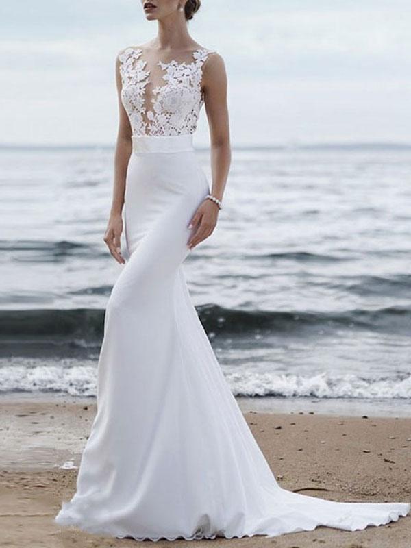 Wedding Dress 2021 Jewel Neck Sleeveless Mermaid Beach Wedding Bridal Gowns With Sweep Train