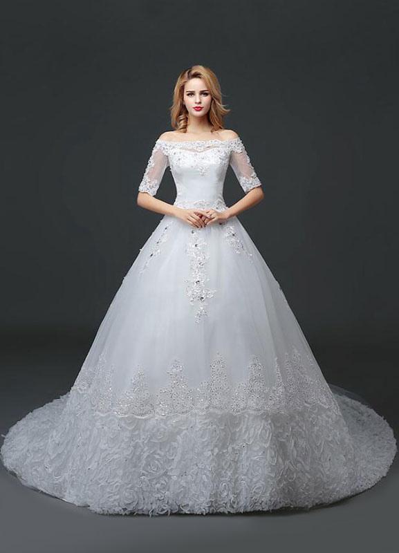 Vestido de novia de princesa fuera del hombro Vestido de novia con cuentas de encaje Vestido de novia de media manga blanco Vestido de novia con tren de la catedral
