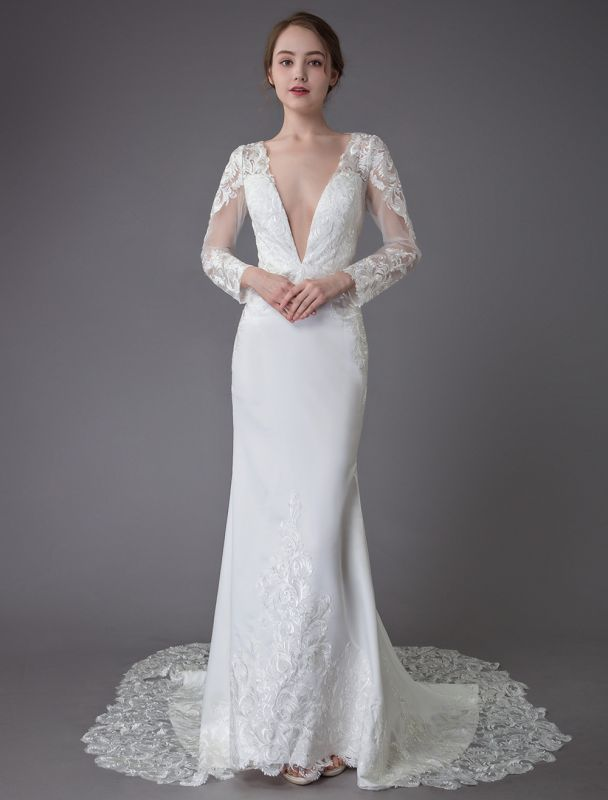 Beach Wedding Dresses Ivory Lace V Neck Long Sleeve Mermaid Bridal Gown With Train Exclusive