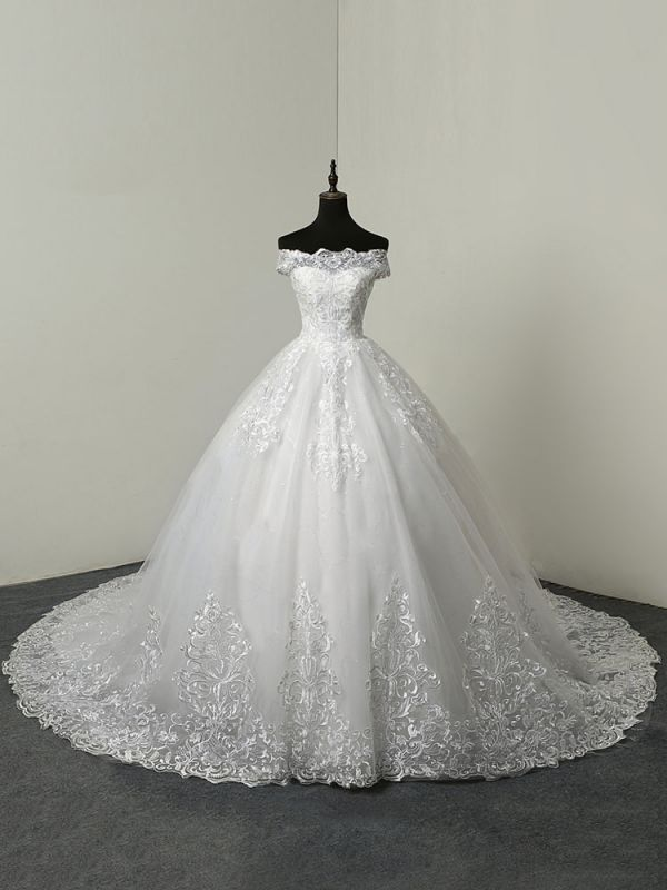 Wedding Dresses 2021 Ball Gown Off The Shoulder Short Sleeve Natural Waist Lace Applique Tulle Bridal Dress