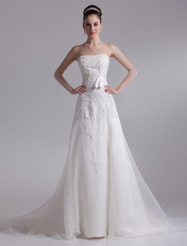 Elegant Ivory A-Line Strapless Rhinestone Tulle Bridal Wedding Dress