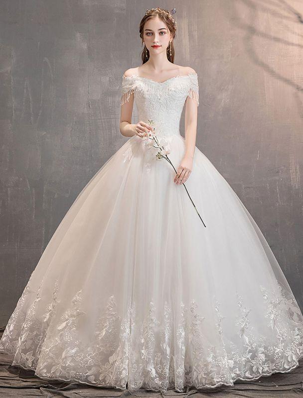 Tüll Brautkleider Prinzessin Brautkleid Schulterfrei Spitze Applique Bodenlangen Ballkleid Brautkleid