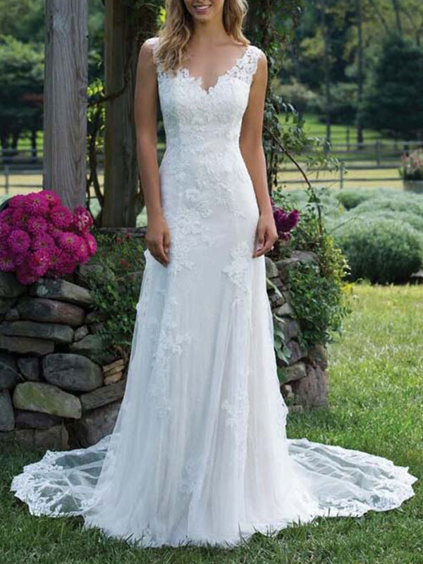 Brautkleid Spitze V-Ausschnitt Ärmellos Mantel Bodenlangen Brautkleid Mit Hofzug