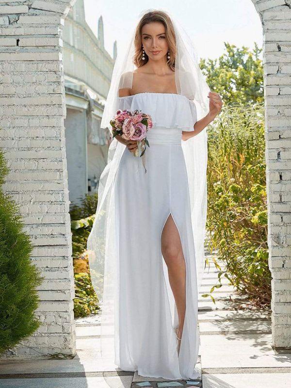 Weißes einfaches Brautkleid Chiffon Bateau-Ausschnitt Ärmellos Split Front A-Linie Lange Brautkleider