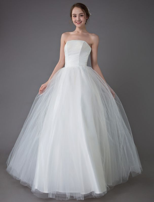 Tulle Wedding Dress Ivory Strapless Sleeveless Princess Dress Ball Gown Floor Length Bridal Dress Exclusive