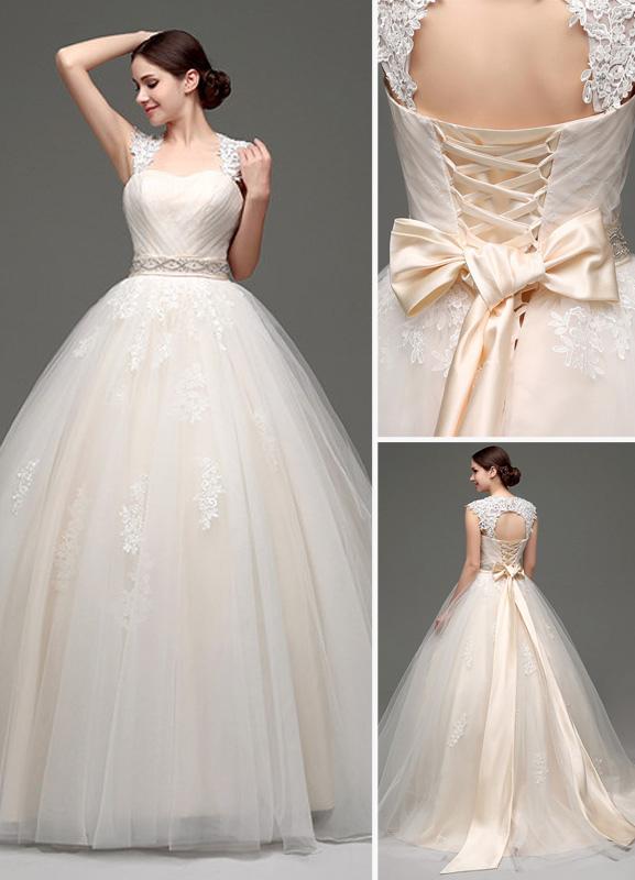 Tulle Cap Sleeves Keyhole Back Princess Wedding Dress With Bow And Rhinestone Sash