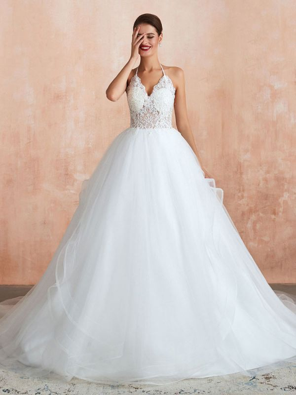 Wedding Dress 2021 Ball Gown Halter Sleeveless Floor Length Lace Tulle Bridal Gowns With Train