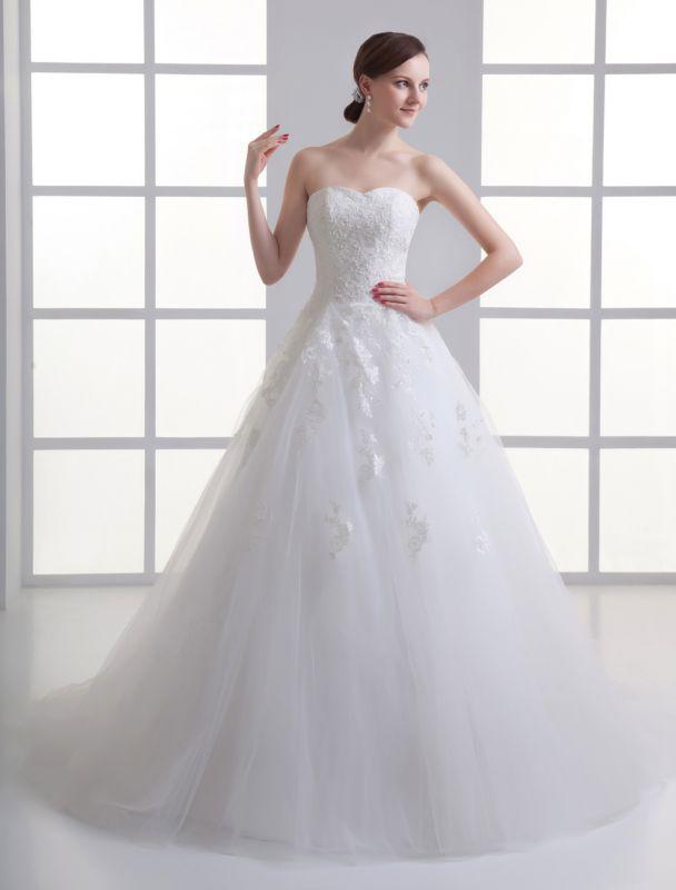Vestido de novia de red de abalorios sin tirantes con cuello en color marfil