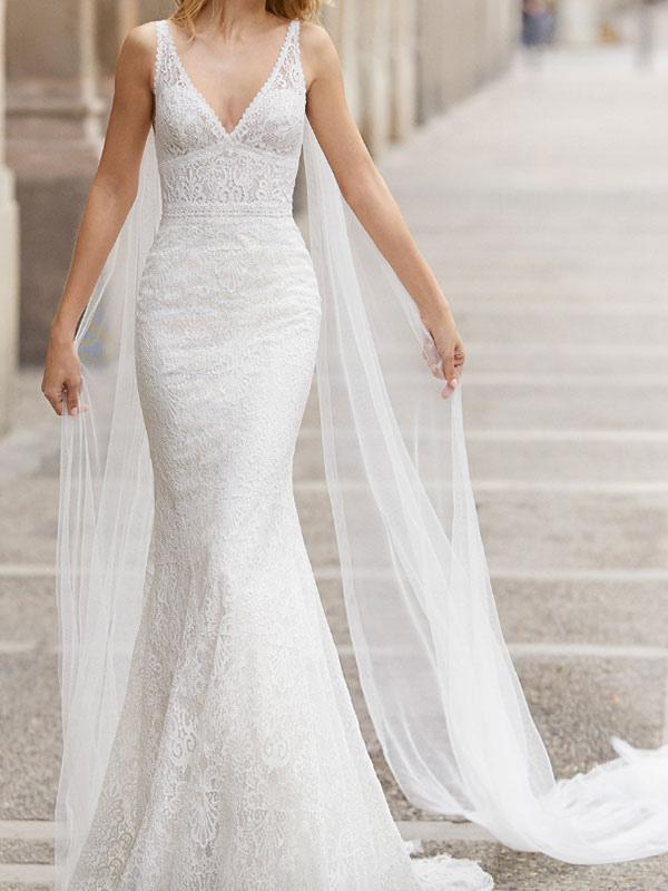 Brautkleid aus Spitze mit Zug Meerjungfrau ärmellose Spitze Tüll V-Ausschnitt Brautkleider