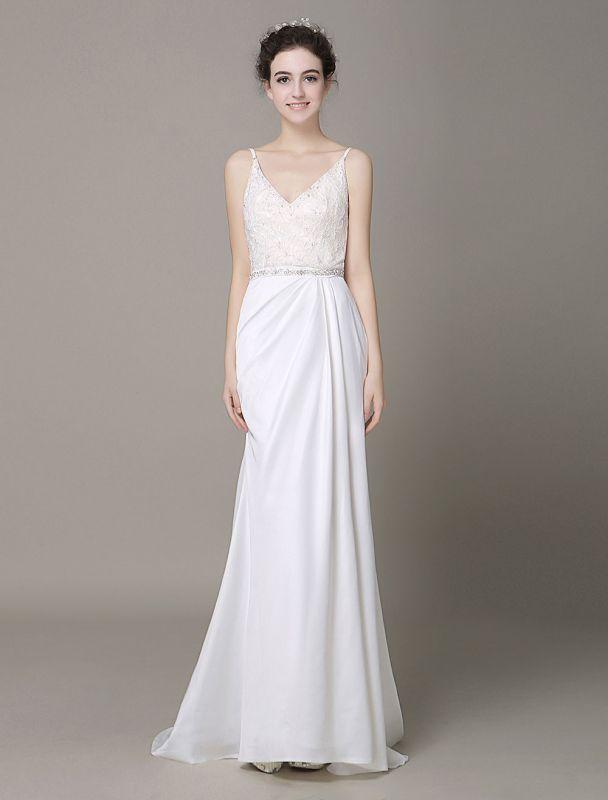 Satin Sheath Wedding Dress Plunging Neckline Bow Back Belt Lace Beading Evening Dress Exclusive