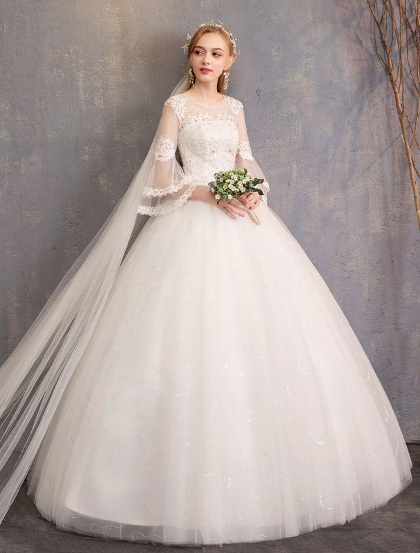 Ballkleid Brautkleider Tüll Juwel 3/4 Ärmel bodenlangen Prinzessin Brautkleid