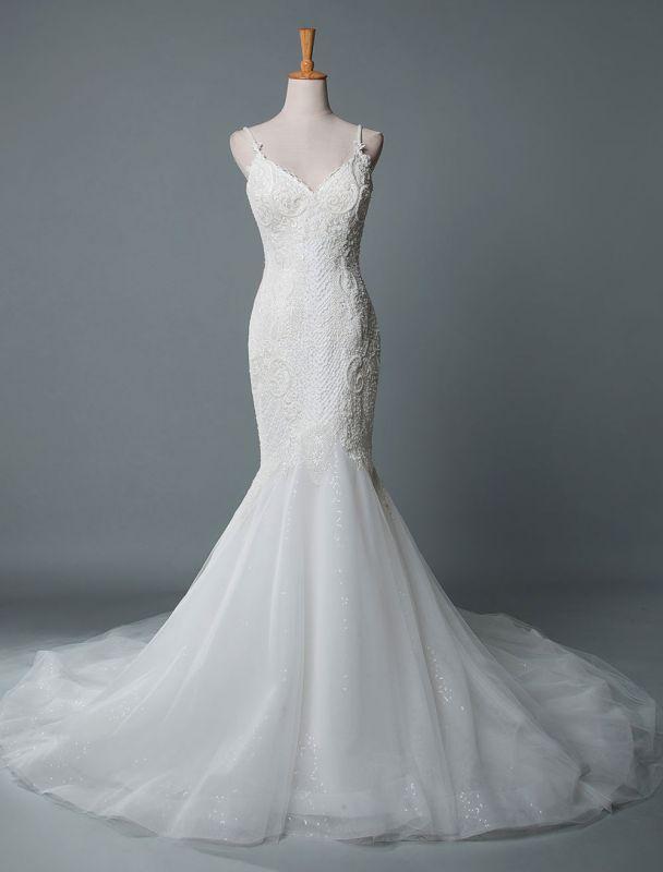 Einfache Brautkleider Spitze V-Ausschnitt Ärmellose Spitze Meerjungfrau Brautkleider mit Zug With