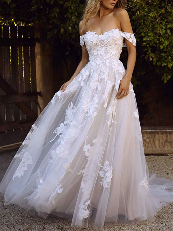 Wedding Dresses 2021 A Line Off The Shoulder Short Sleeve Lace Flora Appliqued Tulle Bridal Gown With Train