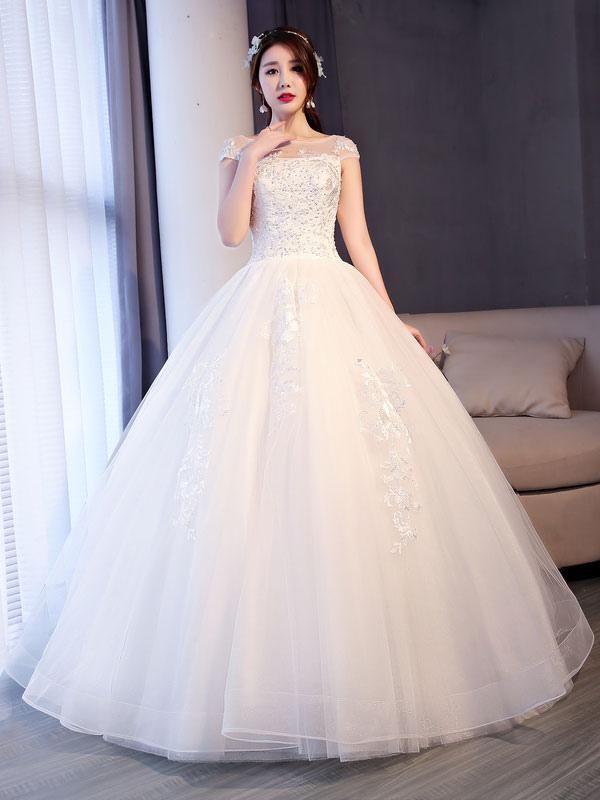 Prinzessin Brautkleider Spitze Perlen Ballkleider Ärmelloses bodenlanges Brautkleid