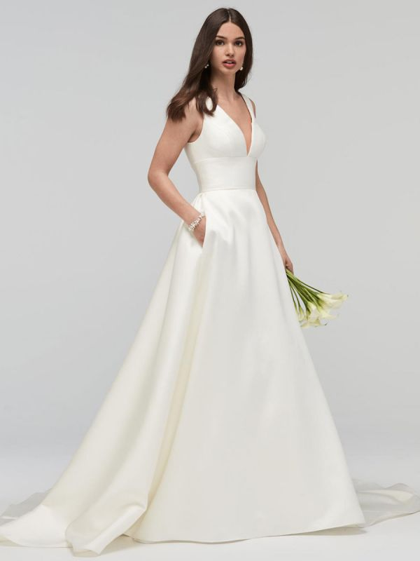 Elfenbein A-Linie Brautkleider mit Zug Ärmellose Taschen V-Ausschnitt Backless Satin Stoff Lange Brautkleider