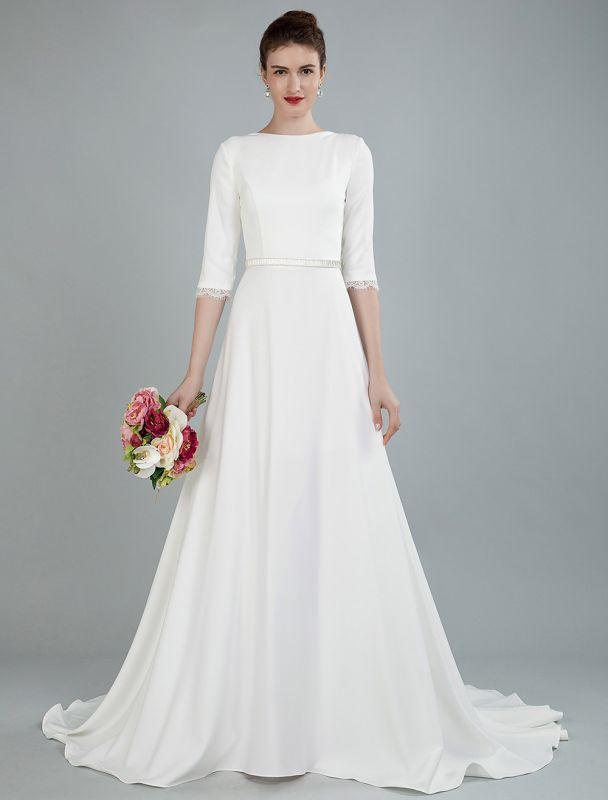 Einfache Hochzeitskleid Perlen Schärpe Rückenfrei Bateau-Ausschnitt Halbarm A-Linie Brautkleider Mit Hofzug Exklusiv
