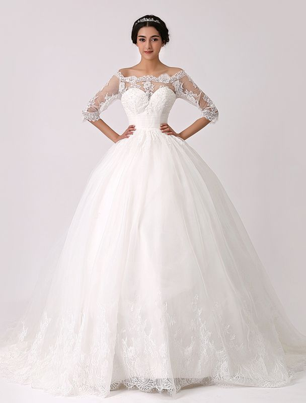 Off The Shoulder Princess Lace Wedding Dress With Illusion Neckline Exclusive