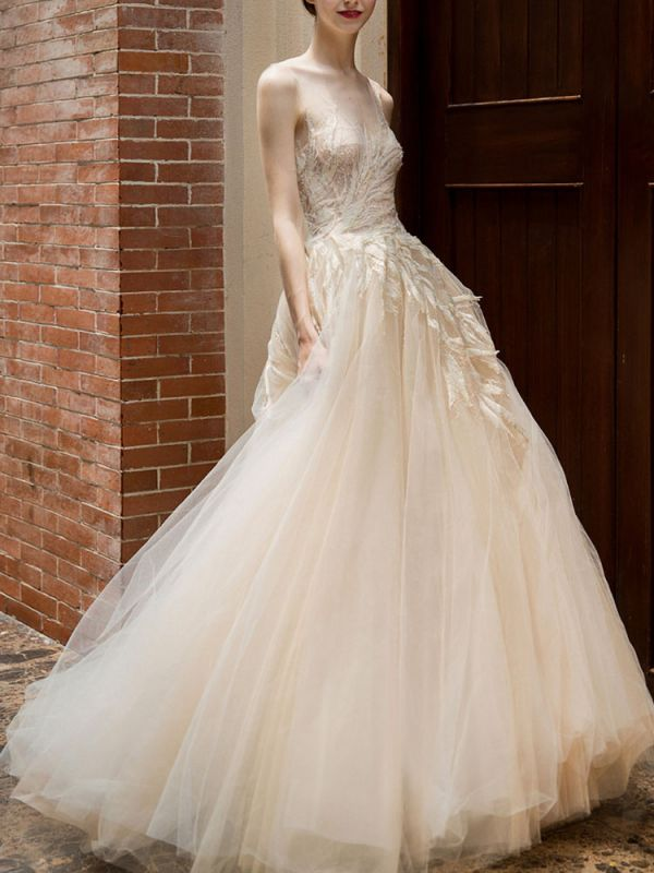 Wedding Dress 2021 Princess Silhouette Floor Length Jewel Neck Sleeveless Natural Waist Lace Tulle Bridal Gowns